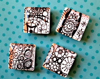 Square Doodle Magnets. Black and White.