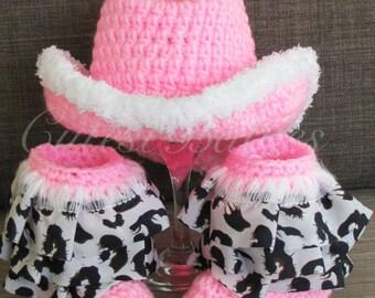 Baby Crochet Cowboy Hat, Ruffle Boots. Photo Prop 0-3, 3-6