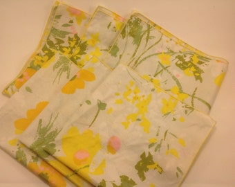 set of 6 vintage napkins chintz fabric 70's- 80's floral yellows greens pinks