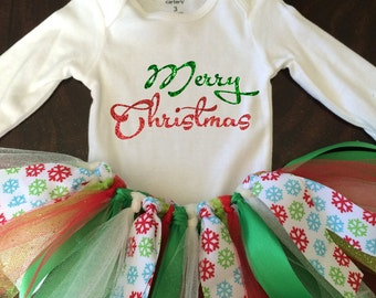 Merry Christmas Outfit - TuTu - Red and Green Glitter