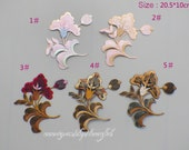 3 pcs- Vintage Style Flower Applique, Iron On Patch Kapok Bud Floral Patch Iron or Sew On patch Various Colors