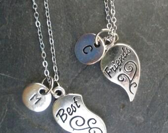 Best Friends Necklace/  Best Friends Choker/ BFF Heart Necklaces/ Initial Charms/Best Friends Initials/ Heart Best Friends/ Initial Necklace