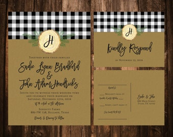 Black and White Buffalo Plaid Wedding Invitations; Kraft; Printable OR set of 25