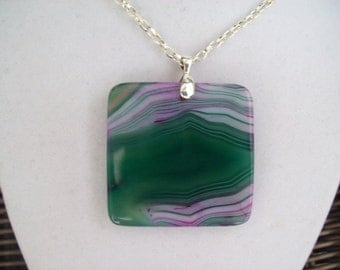 Lavender, Pink, and Green Agate Pendant