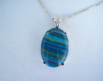 Natural Rainbow Calsilica Pendant in Sterling Silver 30x22mm
