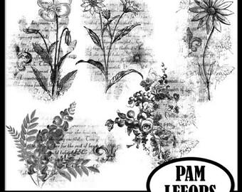 Vintage Flower Stamps Set 1