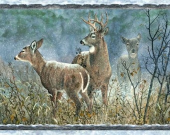 Deer Panel, on Alert, Winter Whispers, Michelle Mara, Wilmington Prints, 30 inch~