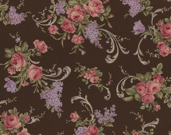 Clusters of Pink Roses with Lavender, Brown, Antique Rose, Lecien (By 1/2 Yard)