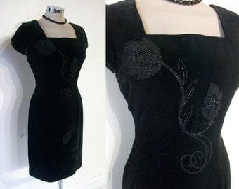 "Fantastic 1950s velvet wiggle dress w/embroidery, beading waist 26"" beautiful large scale beadwork"