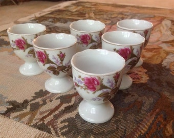 Vintage Rose Egg Cups made in Japan Downton Abbey Style