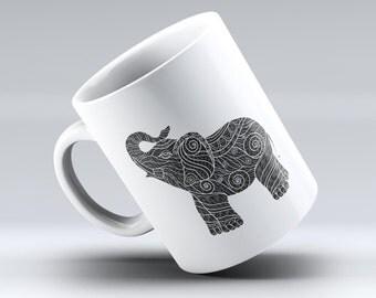 The Zendoodle Elephant  ink-Fuzed Ceramic Coffee Mug or Tea Cup