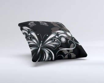 The Vibrant Black & Silver Butterfly Outline ink-Fuzed Decorative Throw Pillow