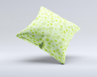 The Vibrant Green Paw Prints  ink-Fuzed Decorative Throw Pillow