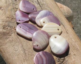 Quahog Shell Pendants, 10pc Large Top Drilled, Naturally Surf Tumbled, Polished Jewelry Making Pendant Charm (WAM-L-05)