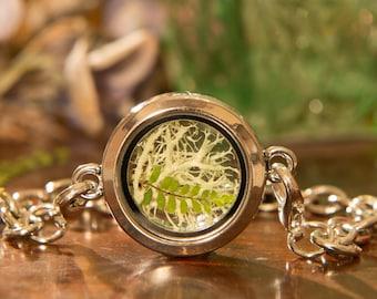 Real Moss and Fern Terrarium,Lichen Bracelet,Moss Bracelet,Heart Charm,Locket Bracelet,Irish Gifts,Real Fern Locket,Irish Woodland Jewelry