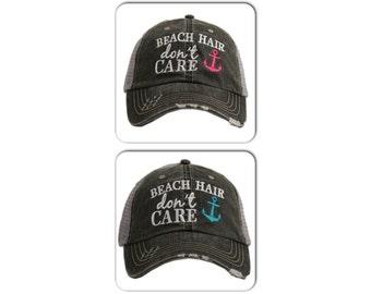Beach Hair Don't Care Trucker Hat ~ Beach Hair Don't Care Hat ~ Beach Hat ~ Summer Hat