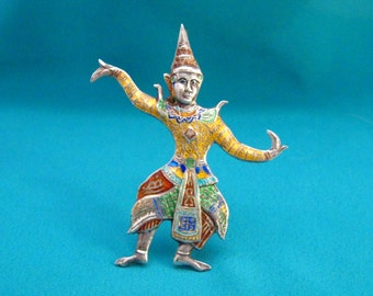 Vintage Sterling Silver Colorful Enamel Siamese Dancer Large Brooch Pendant Siam Thailand