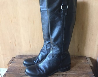 Black Leather Riding Boots, Tall Boots, Ladies 8