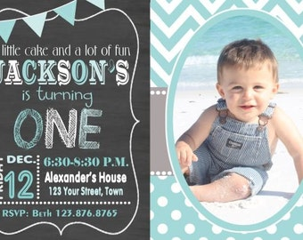 First Birthday Invitation, Boys First Birthday Invitation, ONE Chalkboard Birthday Invite, ONE You Print  Digital Invitation 4x6 or 5x7