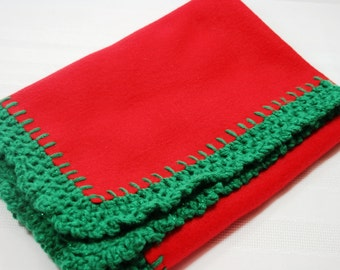 Crochet Edge Fleece Blanket, Solid Red with Green Sparkles Baby Doll Blanket, Handmade, 18x18, #18-45
