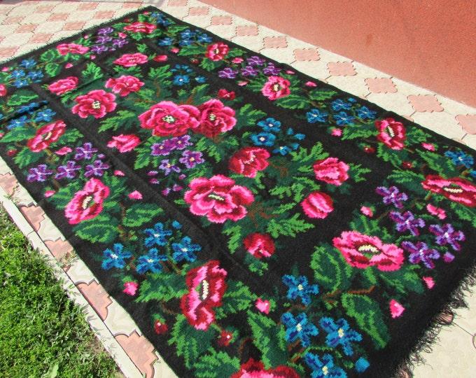 Bessarabian Kilim. Vintage Kilim from Ukraine, handmade, floral kilim rugs. Vintage handwoven wool rug carpet - Floral kilim