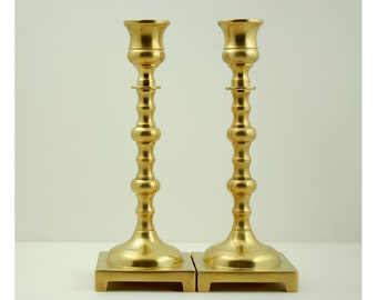 Vintage Brass Candlesticks Pair, Made In England, Knobbed Stem and Footed Square Base, 7.5 Inches Tall, Heavy Weight Taper Candle Holders