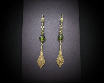 Moroccan Style Earrings Olive Glass Antiqued Brass FREE SHIPPING USA