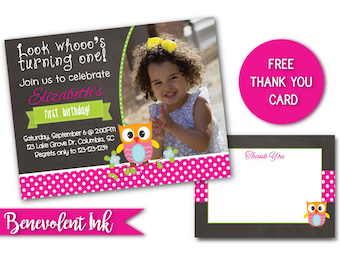 Owl First Birthday Invitation - Owl Theme 1st Birthday Party Invite - First Birthday Girl Party Ideas - Printable Invitation