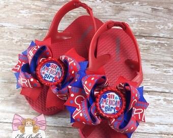 All American Girl Flip Flops~ 4th of july flip flops, patriotic flip flops, pageant flip flops