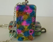 Retro Flower Girl -- Altered Domino Pendant, Hand Painted and Inked
