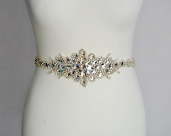 Long Bridal Crystal Sash,Wedding Dress Sash Belt, Rhinestone Sash Bridal Bridesmaid Sash Belt, Wedding dress sash All The Way Around