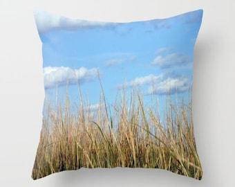 Beach Grass, Pillow Cover, 6 sizes, home decor,blue,brown,sunny,blue sky,interior design,country living,accent pillow,clouds,sea grass