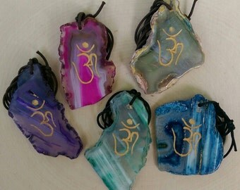 Agate Slice OM Pendants (Dyed)