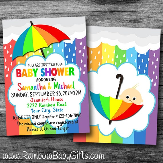 Printable Rainbow Baby Shower Invitation