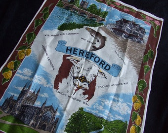 Vintage Hereford Bull Irish Linen Tea Towel , Vintage Wye and Hereford Souvenir