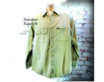 Men's button down shirt, men's tan shirt,  collared shirt, Long sleeve shirt, Timberland -Rugged Fit, size small,   # 42
