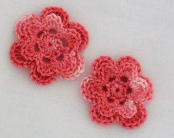 Crocheted rose embellishments 2 pink flower appliques variegated thread