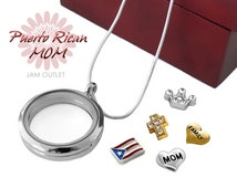 La mejor mamá Mom Glass Locket Set w/ Puerto Rico Floating Charms & Sterling Silver Plated Necklace Mother Pendant - Mother's Day Birthday