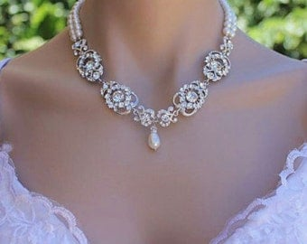 Bridal Necklace, Vintage Wedding Jewelry, Bridal Pearl and Crystal Necklace, LONDON 2