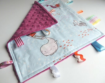 Mermaid Play Security Blanket - Ribbon Lovey - Out to Sea Minky Baby Blanket - Minky Blanket - Mermaid Minky Lovey - Mermaid Lovey Blanket