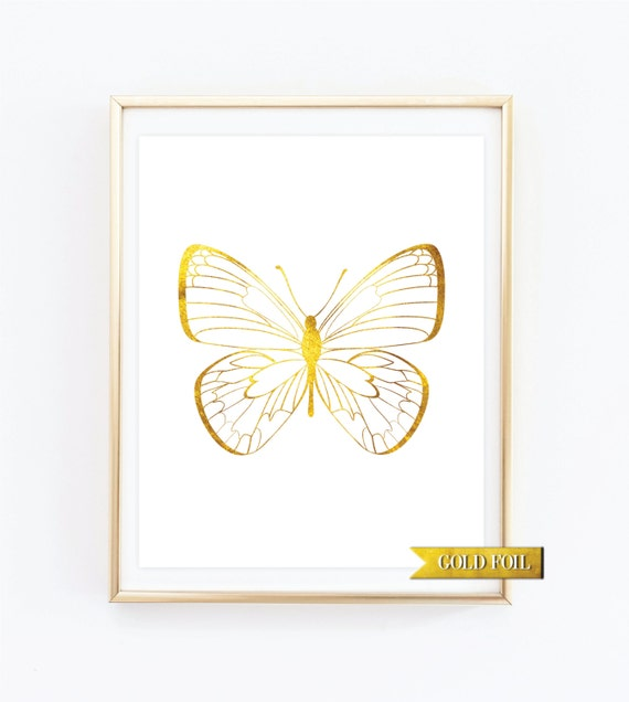 Nursery Wall Decor Butterflies : Butterfly nursery decor wall art gold