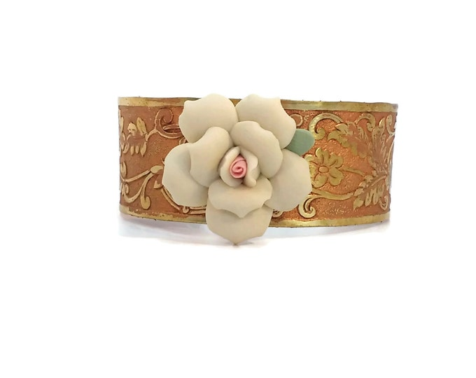 Adjustable Hand Painted Etched Floral Brass Cuff Bracelet with Vintage Ceramic Flower