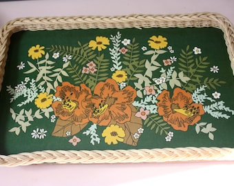 A very lovely floral, melamine tray, with a woven edge, decorated with beads.