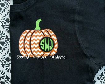 Short Sleeved Crew Neck Monogrammed Chevron Pumpkin T-Shirt | Monogram Pumpkin Halloween or Fall Shirt