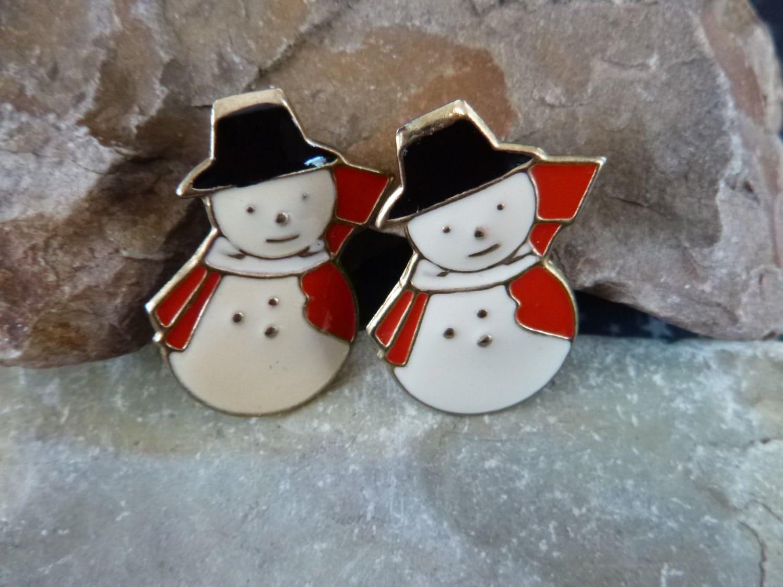 Holiday snowman vintage cute metal earrings red white black