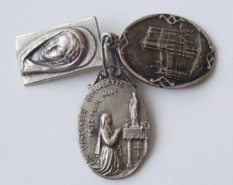 Old And Vintage Religious Medals For Rosary St. Bernadette