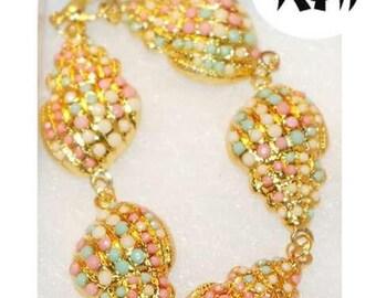Gold Rhinestone Shell Bracelet||Vintage||Glam||Beach||Mermaid||Oceanic||Hawaii Summer||Pink||Blue||