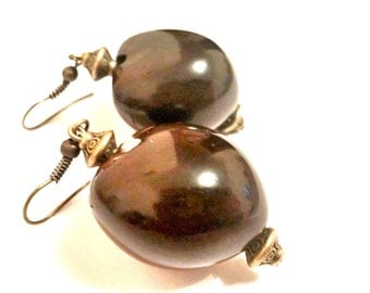 Hawaiian Kukui Nut Earrings||Surf||Beach||Ocean||Bronze||Polynesian||Tahitian||