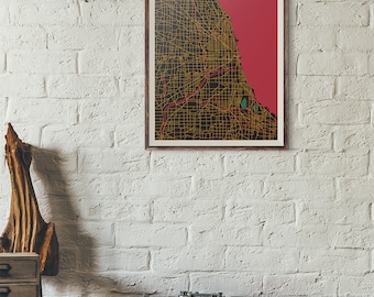 Blackhawks Edition - Chicago Vintage Map print