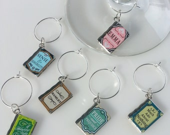 Set of 6 - Metal Book Wine Charms